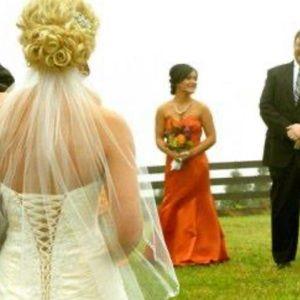 Beautiful burnt orange bridesmaids dress